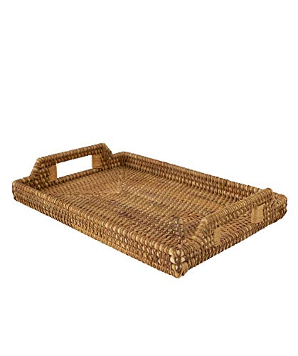 Rattan Wicker Rectangular Serving Trays with Handles, Handwoven Coffee Trays for Coffee, Breakfast, Bread, Food, Dish and Decorative Platter Trays for Dining Table (Large 17'x11.4')