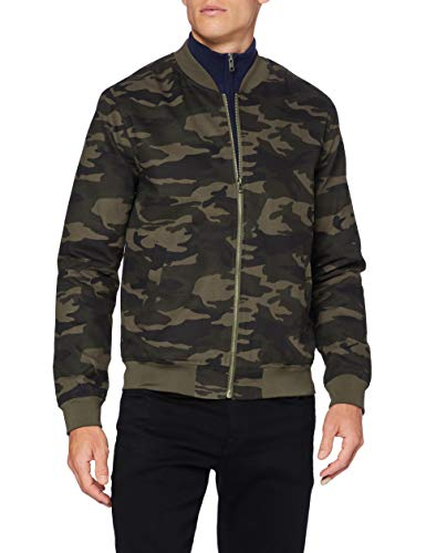 Amazon-Marke: find. Herren Bomberjacke Cotton Canvas, Grün (Camo), L, Label: L