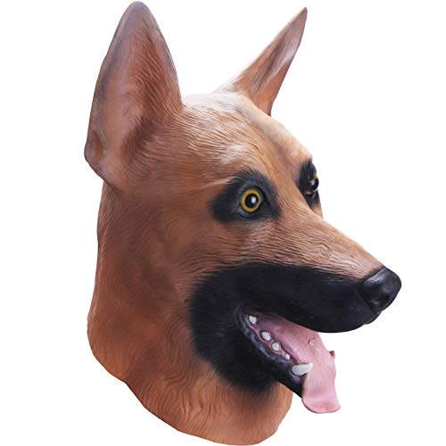 Molezu Halloween German Shepherd Dog Head Mask,Novelty Party Costume Super Bowl Underdog (Coffee)