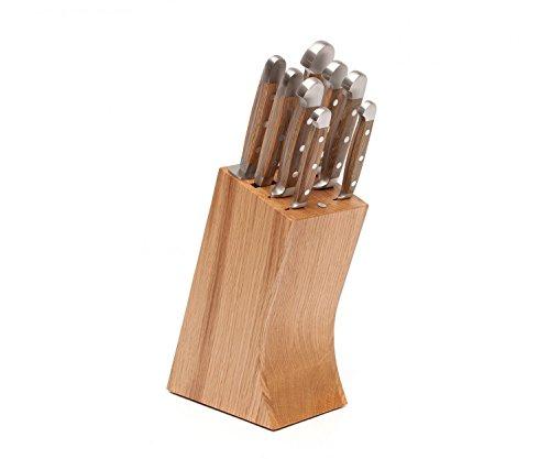 Güde Messerblock 8-E000; Eiche; mit 8 Teilen bestückt, plus ultrascharfes, langlebiges Kochen Macht Spaß Vespermesser im Set
