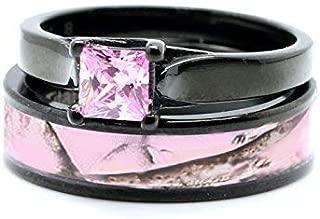 Pink Women`s Black Titanium Camo and Stainless Steel Princess Engagement Wedding Rings Set