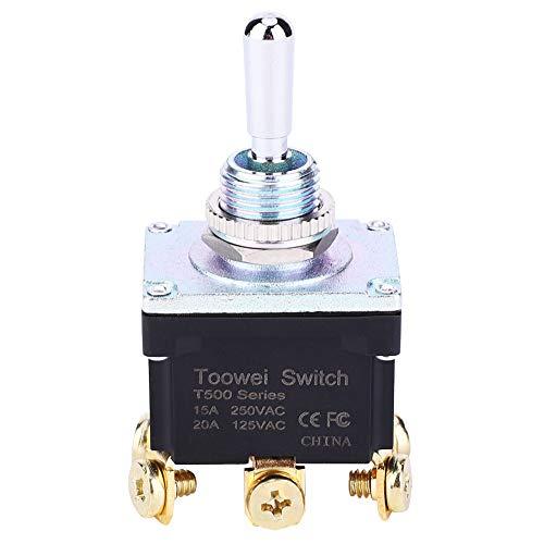 SSPKTY Interruptor De Palanca 6 Pin (Encendido) -Off- (Encendido) Interruptor De Palanca Impermeable Bipolar DPDT T502M