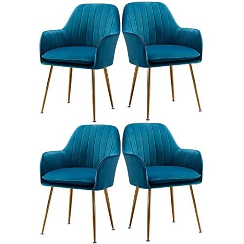 HLY Sillas comerciales, sofá, silla de comedor moderna, juego de 4 maquillaje, tocador, taburete de uñas, tapizado de terciopelo, cocina, restaurante, sala de estar, silla lateral (color: gris marino