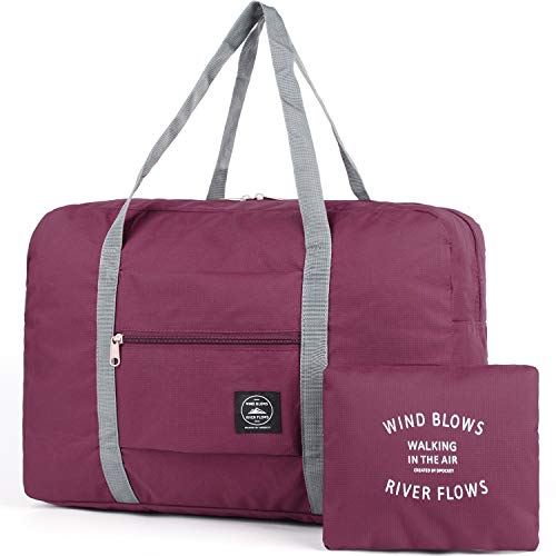 For Spirit Airlines Foldable Travel Duffel Bag Tote Carry on Luggage Sport Duffle Weekender Overnight for Women and Girls (1112 Wine Red)