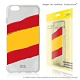 Funnytech® Funda Silicona para Sony Xperia XA Ultra [Gel Silicona Flexible, Diseño Exclusivo] Bandera España Transparente