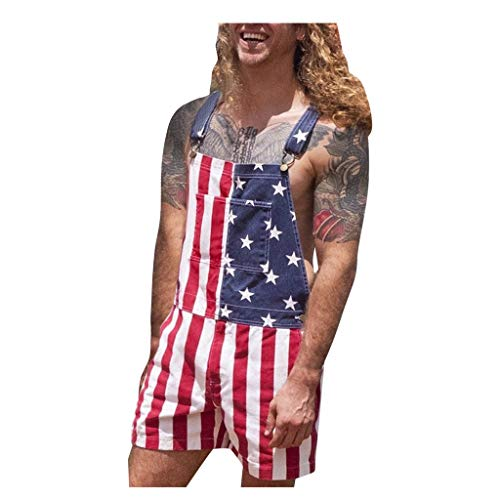 Men's One Piece Romper 3D Printed USA Flag Rompers Male Jumpsuit Shorts Outfits Summer Sleeveless Overalls (2XL, Red)