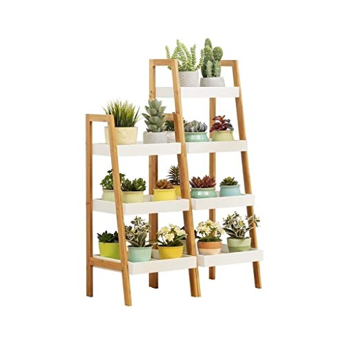Yxx max -Home Decoratie Bamboe Bloem Stand Ladder-Vormgegeven Plant Display Plant Plant Indoors Buiten Bloempotten Houder Opslag Plank Display stand