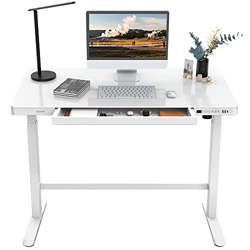 Flexispot Glass Standing Desk with Drawers Comhar 48 x 24 Inch Electric Height Adjustable Desk White Home Office Computer Table with USB Charged, Storage Organizer