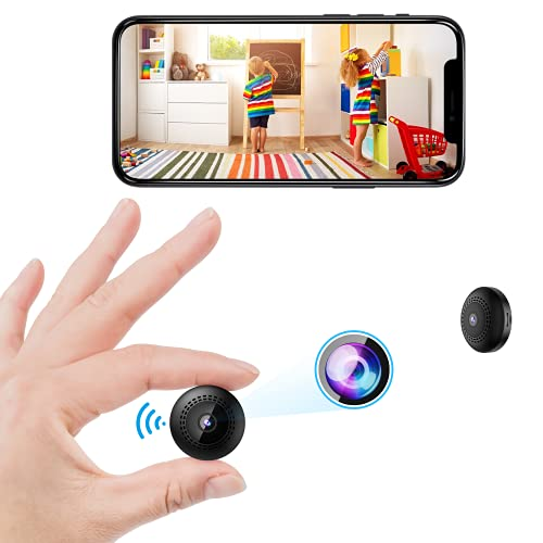 Mini Spy Camera, WiFi Wireless Hidden Security Cameras with Audio Small Portable Nanny Cam Support HD 1080P Auto Night Vision Motion Detection 128GB SD Card for Home Indoor Car Sport Surveillance