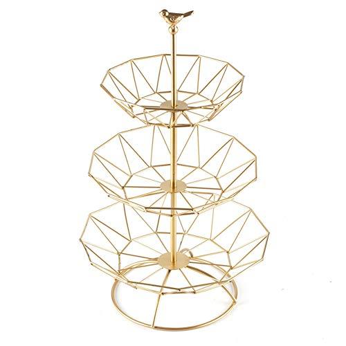 XLNB 3 capas creativas esculturas de pájaros decoración grande cesta de frutas, bandeja de frutas para sala de estar, cesta de almacenamiento de frutas, color dorado