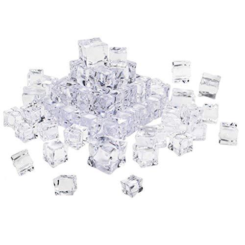 Vosarea 50 unids Cubo Forma Cuadrada Lustre de Cristal Cubos de Hielo de Acrílico Artificial Cubos de Hielo de Acrílico Cristalino Claro Accesorios de Fotografía Decoración de la cocina