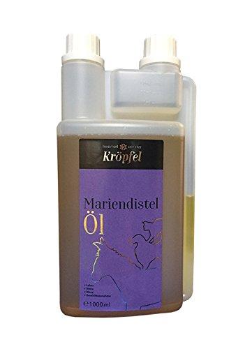 KRÖPFEL Premium Mariendistel Öl für Tiere - 1000ml Leberöl für Pferd, Hund, Katze, Nagetiere - Nahrungsergänzung aus Mariendistel - wirkt entgiftend - hergestellt in Österreich