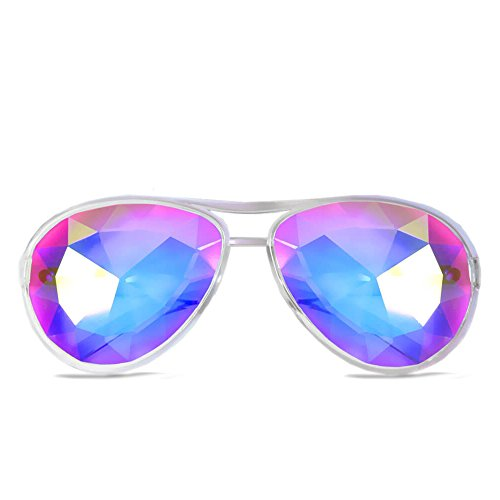 GloFX Aviator Style Kaleidoscope Glasses – Clear – Rave Rainbow EDM Diffraction Effect