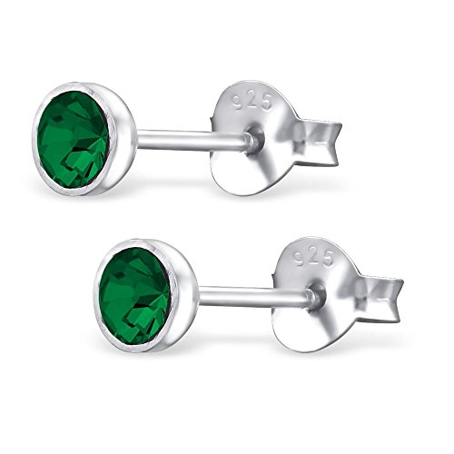 Bungsa Pendientes de cristal verde y plata para mujer