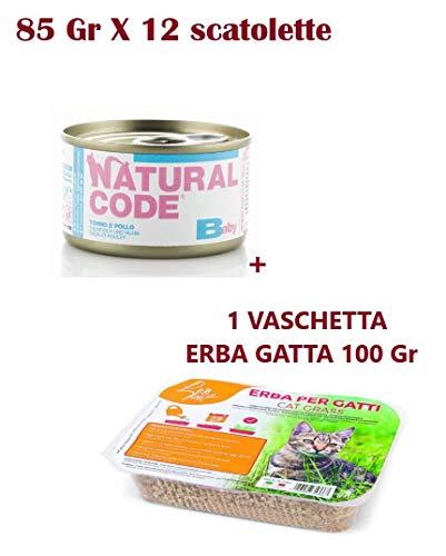12 scatolette Natural Code Baby Pollo Tonno, Cibo Umido per Gattini Kitten da 85 gr Naturale Senza glutine Senza Cereali + Omaggio Erba per Gatti Erba Gatta a germinazione Rapida in vaschetta da 100g