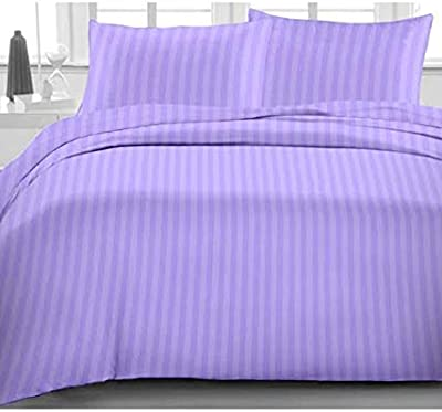 Anjali Overseas 300 TC 100% Cotton Satin Double Queen Size Bedsheet with 2 Pillow Covers Plain Premium Platinum Superior Elegant Solid Stripes - 90 x 100 with Attractive Bag 14 Colours (Blue)