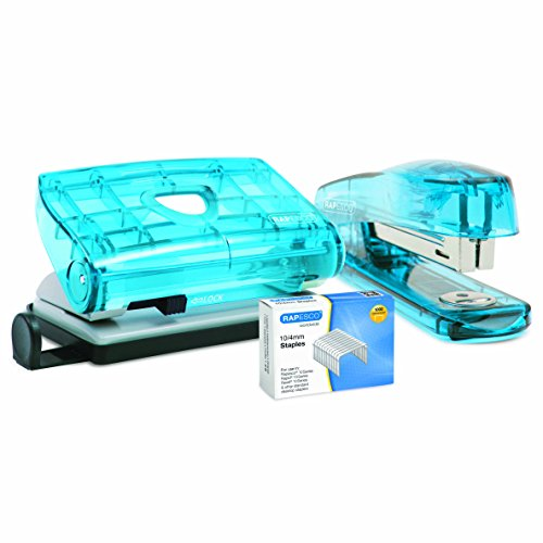 Rapesco R1050BA3 Hole Punch and Stapler Set with 1,000 10 4mm Staples
