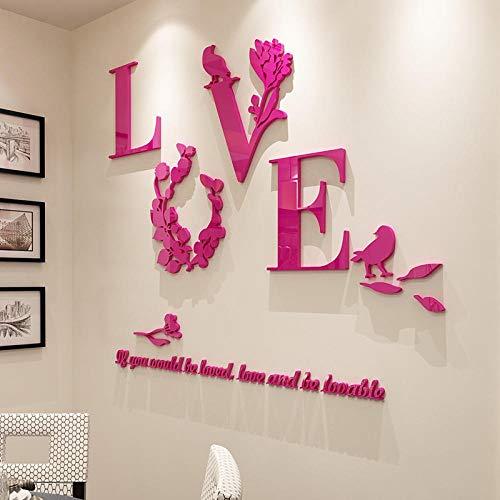 TPYFEI Liebe Wandaufkleber 3D dreidimensionale Hochzeitsraum Layout Dekoration Wandaufkleber Schlafzimmer Wandaufkleber Acryl-Weiß Super Trompete