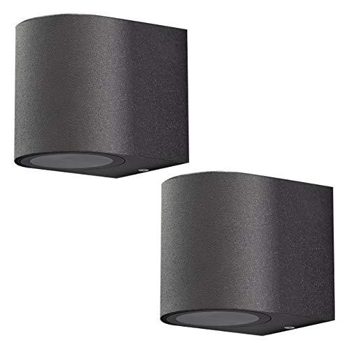 Aplique de pared exterior de aluminio. Set 2 unidades. Casquillo 1x GU10 para LED y halógeno. Pantalla difusora de cristal. Color negro