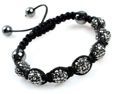 10mm Grau Grau pflastern Sparkle Swarovski Crystal Ball Hand-Woven-Armband einstellbar 7-Korn-