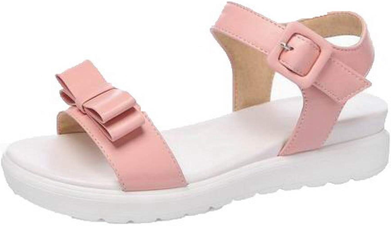 AmoonyFashion Women's Low-Heels Buckle Open-Toe Sandals,BUTLT008146