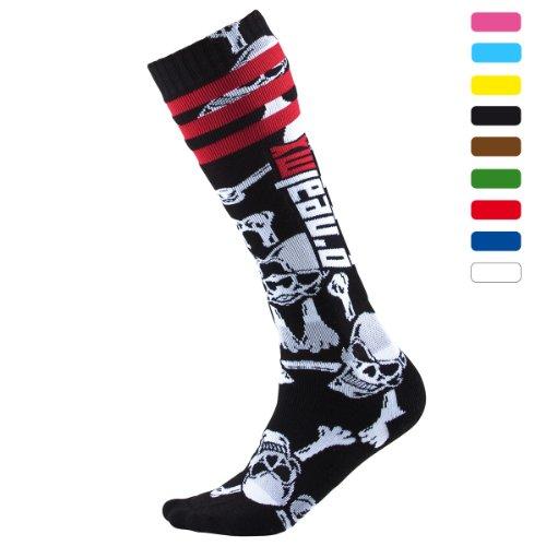 Oneal Pro MX Socken Crossbone, Farbe Schwarz/Weiss, Größe One Size