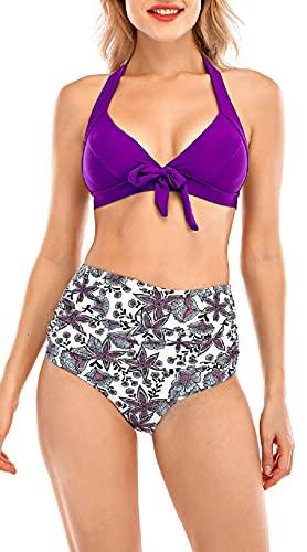 UMIPUBO Bikinis Mujer Traje de Baño Conjunto Bañador Ropa de Playa Dos Piezas Inclinarse Bikini Sets Push up Sujetador Acolchado Bra Tops y Braguitas Conjunto de Bikini (Púrpura, XL)