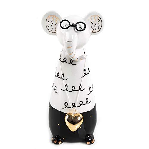 Logbuch-Verlag Figura decorativa de elefante, color negro, blanco y dorado – Divertida figura de elefante como regalo para hombres, mujeres y niños – Figura de regalo de cumpleaños 17 cm