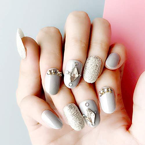 DKHF Valse nagels 24 stuks grijze ronde kop faux druk op valse nagel tips glitter kristallen sieraden ontwerp nep nagel manicure voor dames