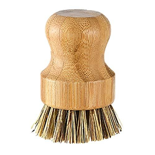 Seii Palm Dish BrushPalm Pot Brush Bambu Rund Mini Scrub Brush Naturlig skrubbborste Våtrengöringsskrubbare för tvätt disk kastruller stekpannor och grönsaker 315 x 256 tum trovärdig