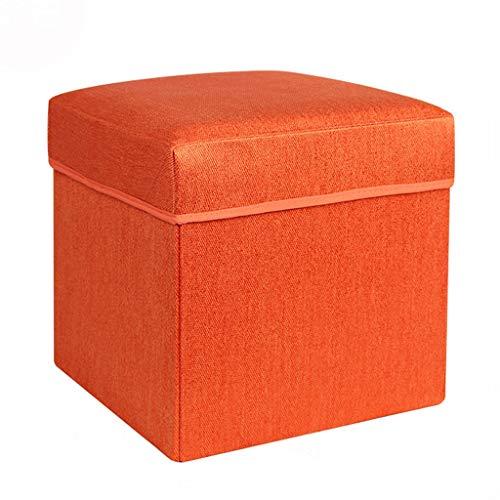 Wddwarmhome Tabouret de Rangement pour boîte de Rangement, Pouf Pliable, en Tissu Non tissé - Poids Maximal 100 kg - Facile à Nettoyer (Couleur : Orange, Taille : 32 * 32 * 31cm)