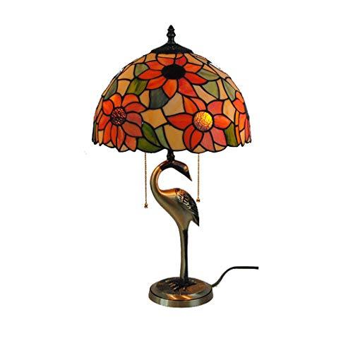 Tafellamp van zuiver koper, zonnebloemen, Europees, Tiffany, tuin, slaapkamer, nachtkastje, woonkamer, studio, 12 inch
