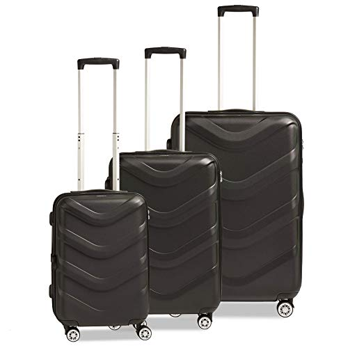 STRATIC Arrow 2 Suitcase Set 3 Pieces Hard Shell Suitcase Trolley Suitcase Travel Suitcase 4 Wheels TSA Combination Lock Black