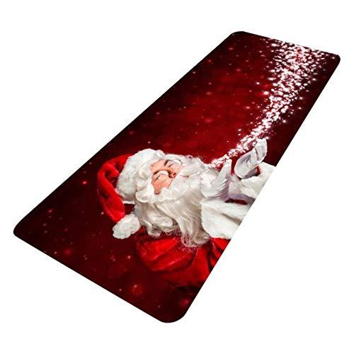 Alfombra de franela de Papá Noel 3D antideslizante de franela para cocina, cuarto de baño, habitación, decoración de alfombras