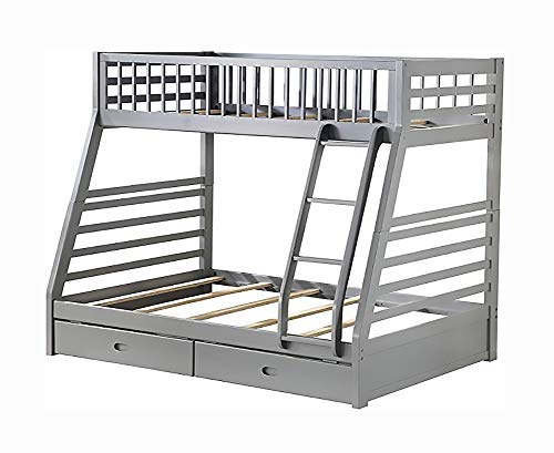 Twin over Full Bunk Bed Solid Wood Frame with Ladder,Under-bed Storage Drawers and Full-length Guardrail,Convertible Design,Can be used Stacked or 2 Separated Beds,U.S.A Local Warehouse,Fast Delivery