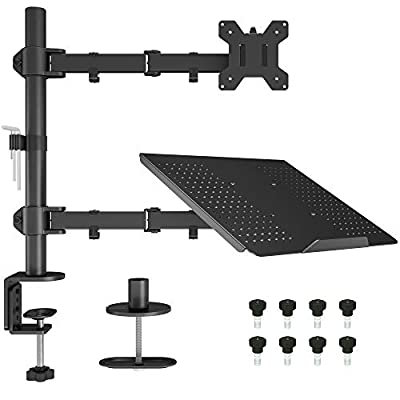BONTEC Monitor Arm Mount with Laptop Tray for 13 to 27 inch LCD LED Screen & up to 15.6 inch Notebook,Tilt Rotation Swivel Ergonomic Desk Stand Bracket with Clamp, VESA Dimensions: 75x75-100x100mm