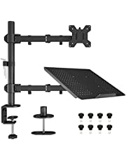 """BONTEC Notebook Stand Monitor Arm Bureau Mount Volledig Verstelbare Draaibare Draaibare Rotatie voor 13""""-27"""" LCD LED-schermen & tot 15"""" Laptop - met C-Clamp/Grommet Base"""