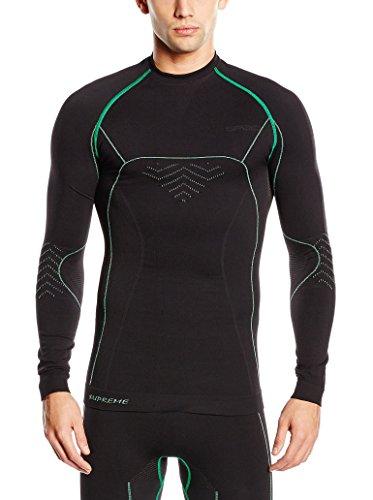 SPAIO Supreme T-Shirt Manches Longues Hommes, Noir/Vert, XXL
