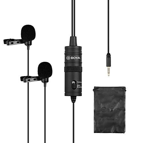 BOYA Microphones Dual Lavalier, Micro-cravate à condensateur omnidirectionnel pour appareil photo, DSLR, iPhone, Android, Sony, Ordinateur portable, Guitare, Idéal pour les entrevues, Youtube, Vlog