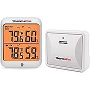 ThermoPro TP63A Thermomètre Intérieur Extérieur Station Météo Numérique Hygromètre sans Fil Résistant au Froid et Étanche Indicateur de Température et D'humidité, Portée de 60M