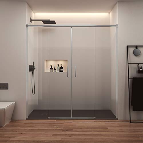 Mampara de Ducha Frontal Corredera - 2 Puertas + 2 Fijos - Sin Perfil Inferior - Cristal Templado 6mm - Transparente - Perfiles Aluminio Cromo (140 a 150 cm)