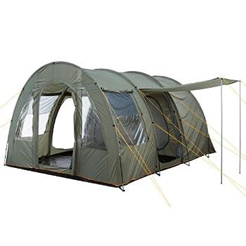 CampFeuer Tente Tunnel TunnelX   Grande Tente familiale avec 3 entrées   5.000 mm de Colonne d'eau   Tente pour 4 Personnes, Tente de Camping (Vert Olive)