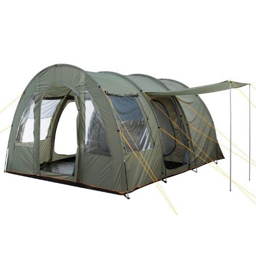 CampFeuer Tunnelzelt TunnelX | Großes Familienzelt mit 3 Eingängen | 5.000 mm Wassersäule | Zelt für 4 Personen Campingzelt (olivgrün)