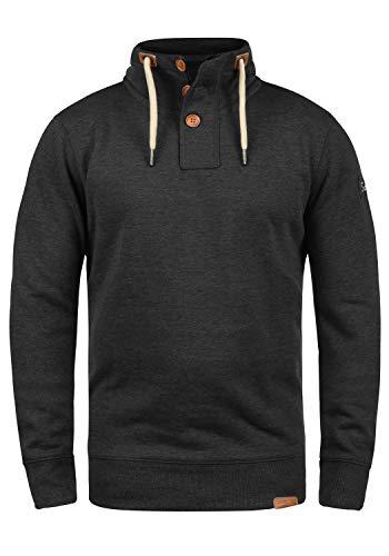 !Solid TripTroyer Herren Sweatshirt Pullover Troyer Pulli Mit Stehkragen Und Knopfverschluss, Größe:L, Farbe:Dark Grey Melange (8288)