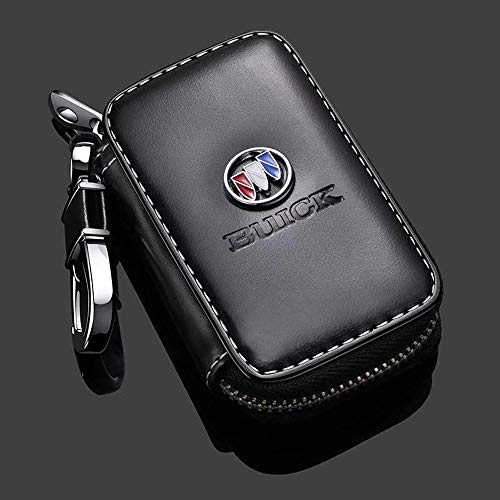 Gaocar Auto Parts Car Key case for Buick,Genuine Leather Car Smart Key Chain Keychain Holder Metal Hook and Keyring Zipper Bag for Remote Key Fob - Black (for Buick)