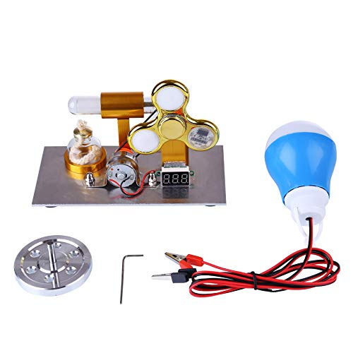 SENG Modelo de motor Stirling en forma de L, modelo físico y ciencia, juguete con tensiómetro, giroscopio y bombilla