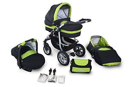 Clamaro 'CORAL' Kinderwagen 3in1 Kombi System mit Babywanne, Sport Buggy und 0+ (0-13 kg) Auto Babyschale, Luftreifen, Federung, Schwenkräder und EASY-STOP Bremse - 21. Schwarz/Grün