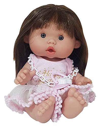 EIMP Muñeca Bebé Lola Nenota Feliz Cumpleaños con Pelo para Peinar y Vestido Rosa Regalo para Niños y Niñas.