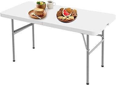 Todeco - Table Pliante,Table en Plastique Robuste, Table en Plastique, 122 x 61 cm,Pliable en Deux, Matériau: HDPE, Charge ma