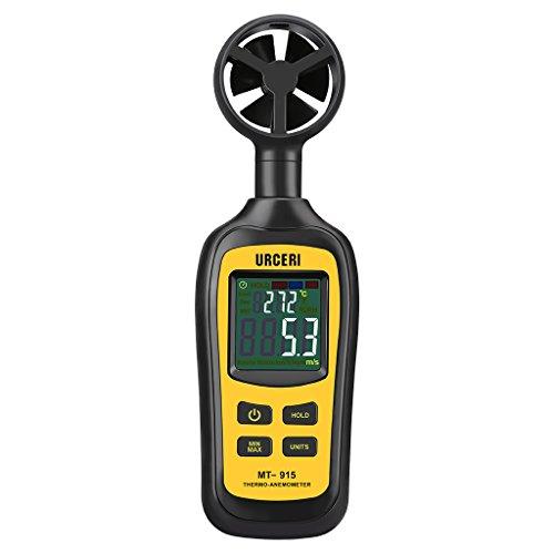 URCERI MT-915 Misuratore di Vento 0,4m/s-30m/s Anemometro Digitale Temperatura Min/Max, Schermo Colorato Retroilluminato, Batteria Inclusa